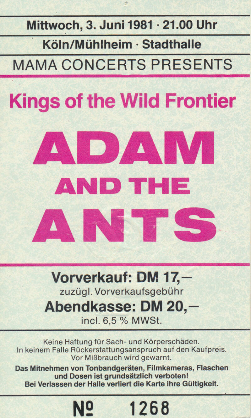 Adam and The Ants - Stadthalle, Cologne, June 3, 1981 [Germany] - Ticket Stub