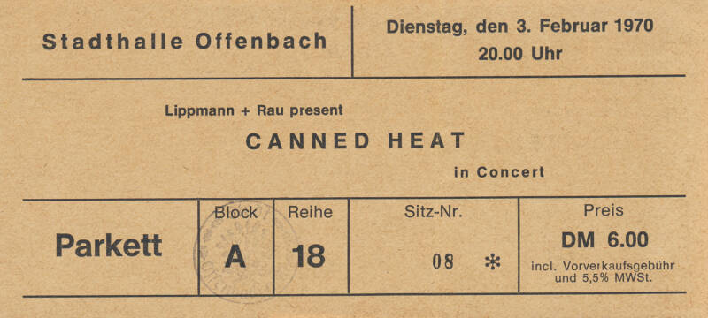 Canned Heat - Stadthalle, Offenbach, February 3, 1970 [Germany] - Ticket Stub