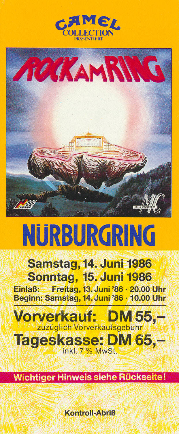 The Cure - INXS - Simple Minds - Simply Red - Talk Talk - The Alarm - The Bangles - The Waterboys - Rock Am Ring, Nürburgring, June 14-15, 1986 [Germany] - Ticket Stub