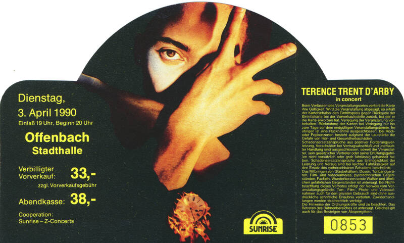 Terence Trent d'Arby - Stadthalle, Offenbach, April 3, 1990 [Germany] - Ticket Stub