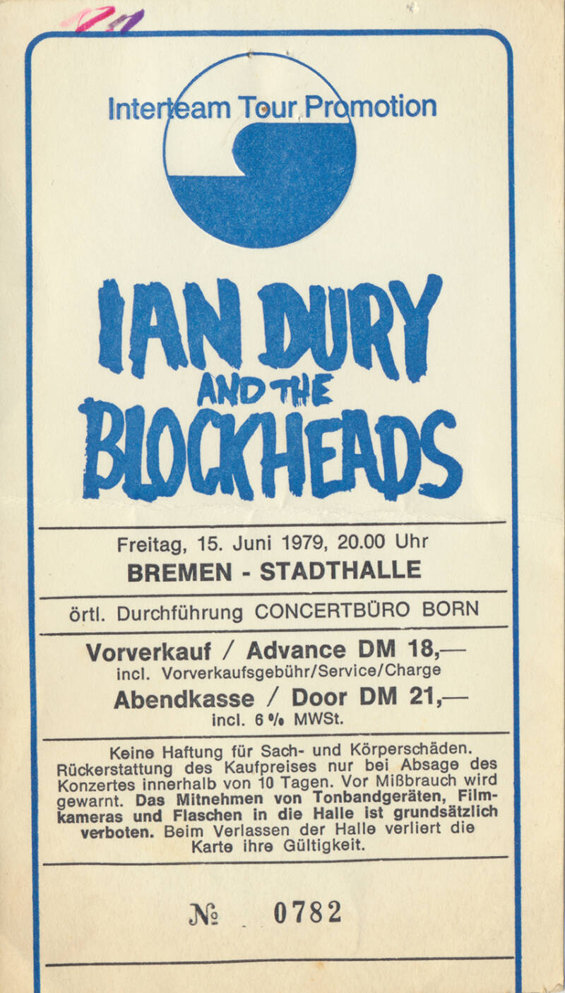 Ian Dury and the Blockheads - Stadthalle, Bremen, June 15, 1979 [Germany] - Ticket Stub