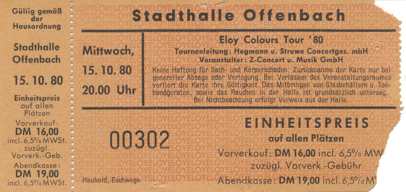 Eloy - Stadthalle, Offenbach, October 15, 1980 [Germany] - Ticket Stub