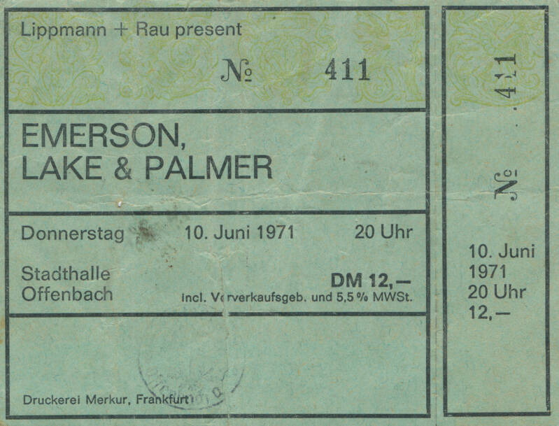 Emerson Lake and Palmer - Stadthalle, Offenbach, June 10, 1971 [Germany] - Ticket Stub