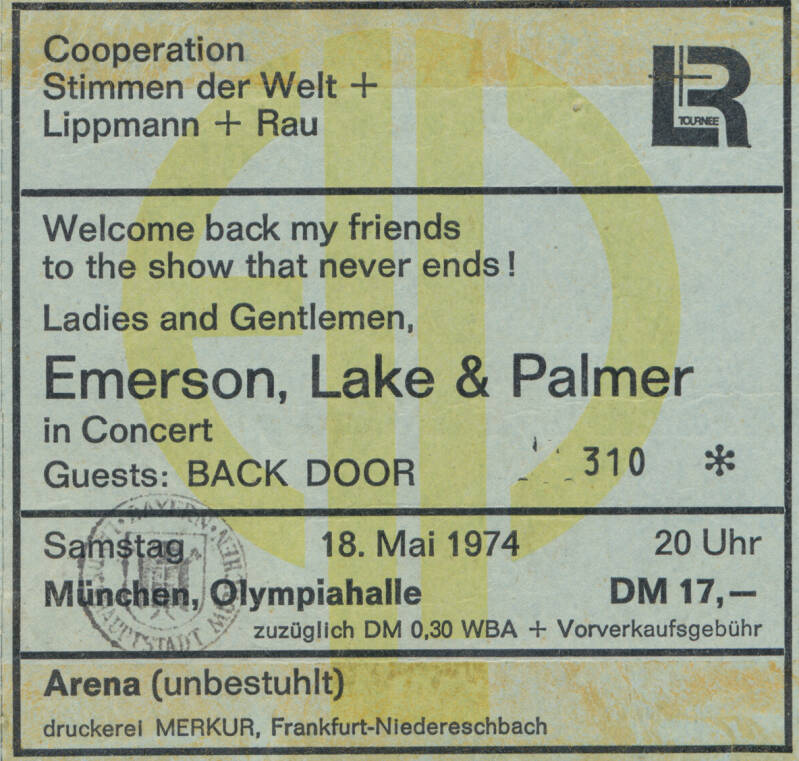 Emerson Lake and Palmer - Olympiahalle, Munich, May 18, 1974 [Germany] - Ticket Stub