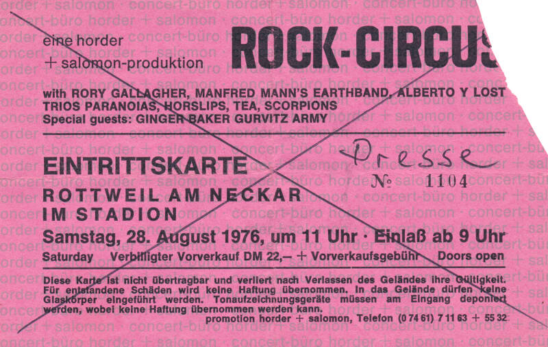 Rory Gallagher - Manftred Mann's Earth Band - Alberto Y Los Trios Paranoisas - Tea - Scorpions - Ginger Baker - Gurvitz Army - Rock Circus Stadion, Rottweil, Am Neckar, August 28, 1976 [Germany] - Ticket Stub