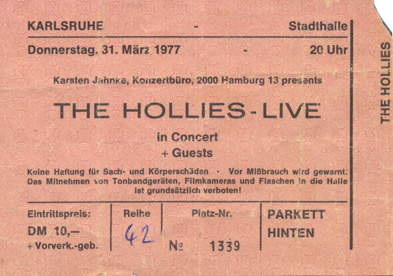 The Hollies - Stadthalle, Karlsruhe, March 31, 1977 [Germany] - Ticket Stub