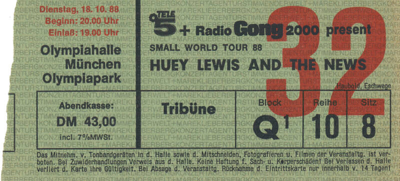 Huey Lewis & The News - Olympiahalle, Munich, October 18, 1988 [Germany] - Ticket Stub