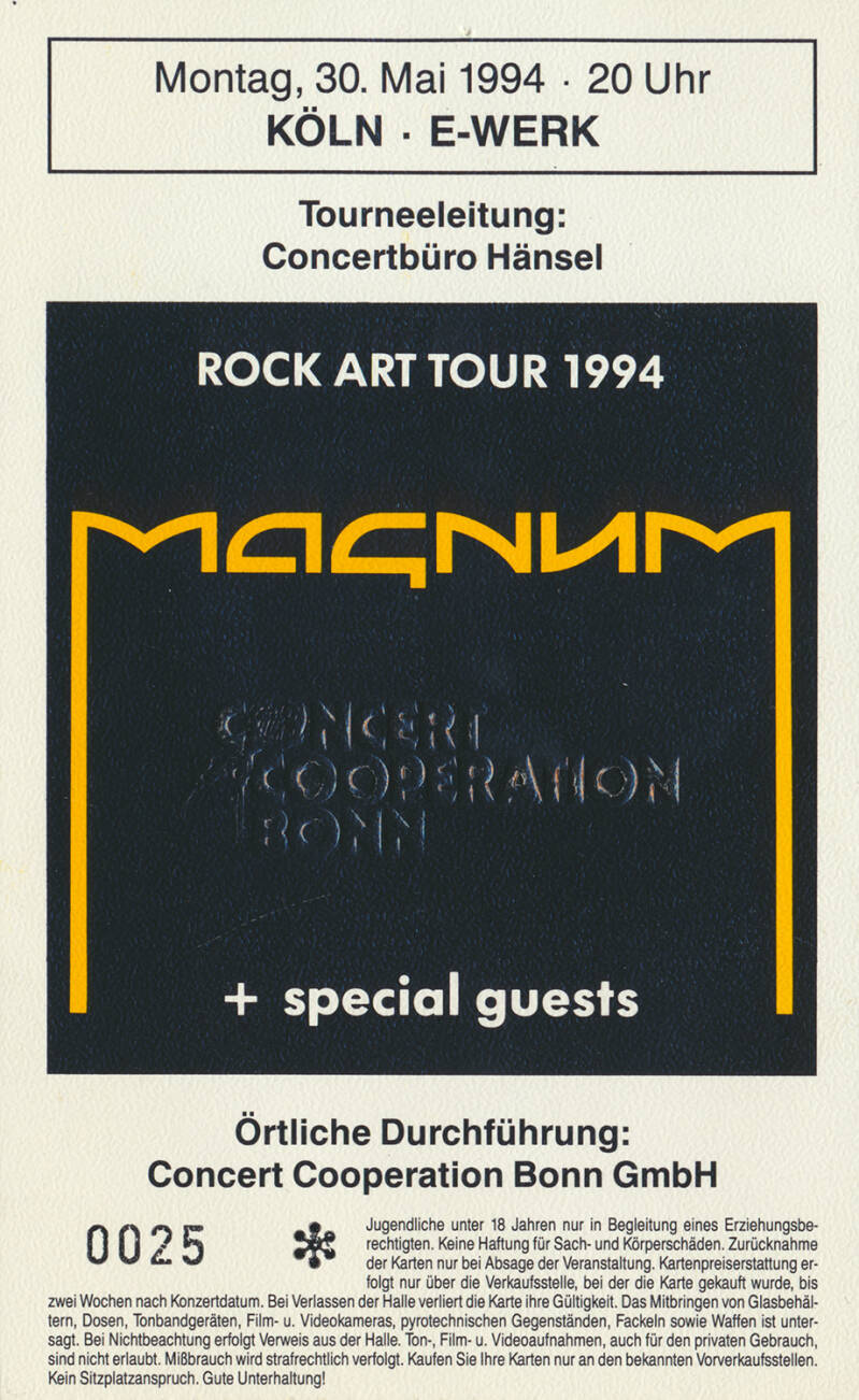 Magnum - E-Werk, Cologne, May 30, 1994 [Germany] - Ticket Stub