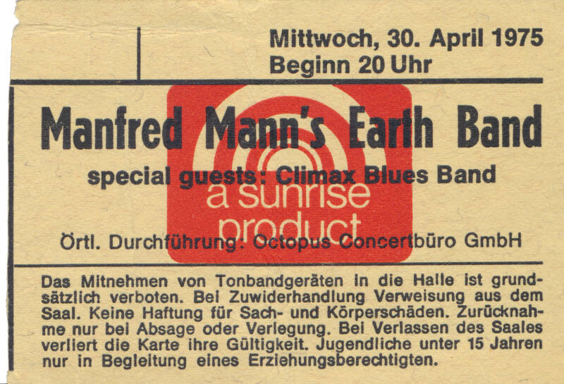 Manfred Mann's Earth Band - April 30, 1975 [Germany] - Ticket Stub