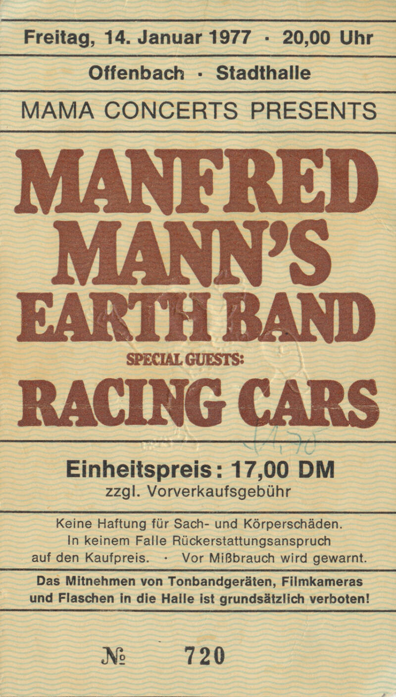Manfred Mann's Earth Band - Stadthalle, Offenbach, January 14, 1977 [Germany] - Ticket Stub
