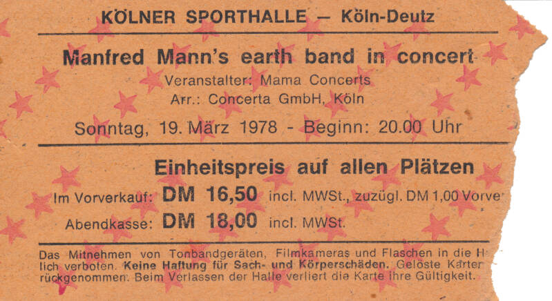 Manfred Mann's Earth Band - Sporthalle, Cologne-Deutz, March 19, 1978 [Germany] - Ticket Stub