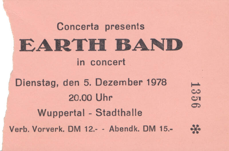 Manfred Mann's Earth Band - Stadthalle, Wuppertal, December 5, 1978 [Germany] - Ticket Stub