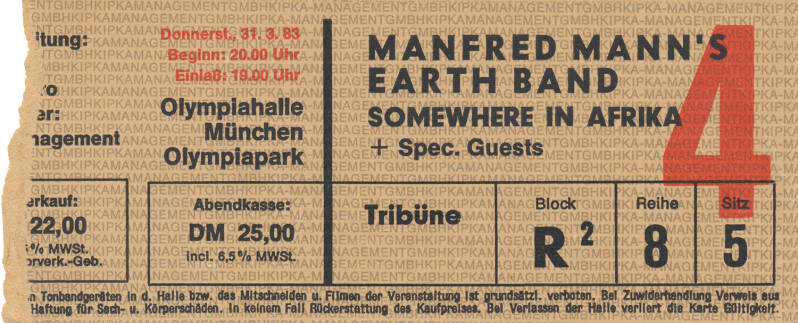 Manfred Mann's Earth Band - Olympiahalle, Munich, March 31, 1983 [Germany] - Ticket Stub
