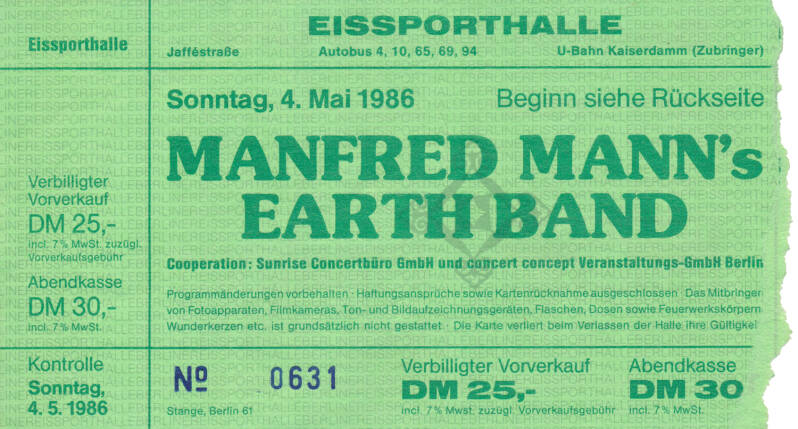 Manfred Mann's Earth Band - Eissporthalle, Berlin, May 4, 1986 [Germany] - Ticket Stub