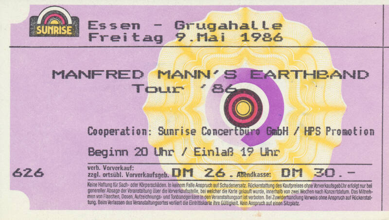 Manfred Mann's Earth Band - Grugahalle, Essen, May 9, 1986 [Germany] - Ticket Stub