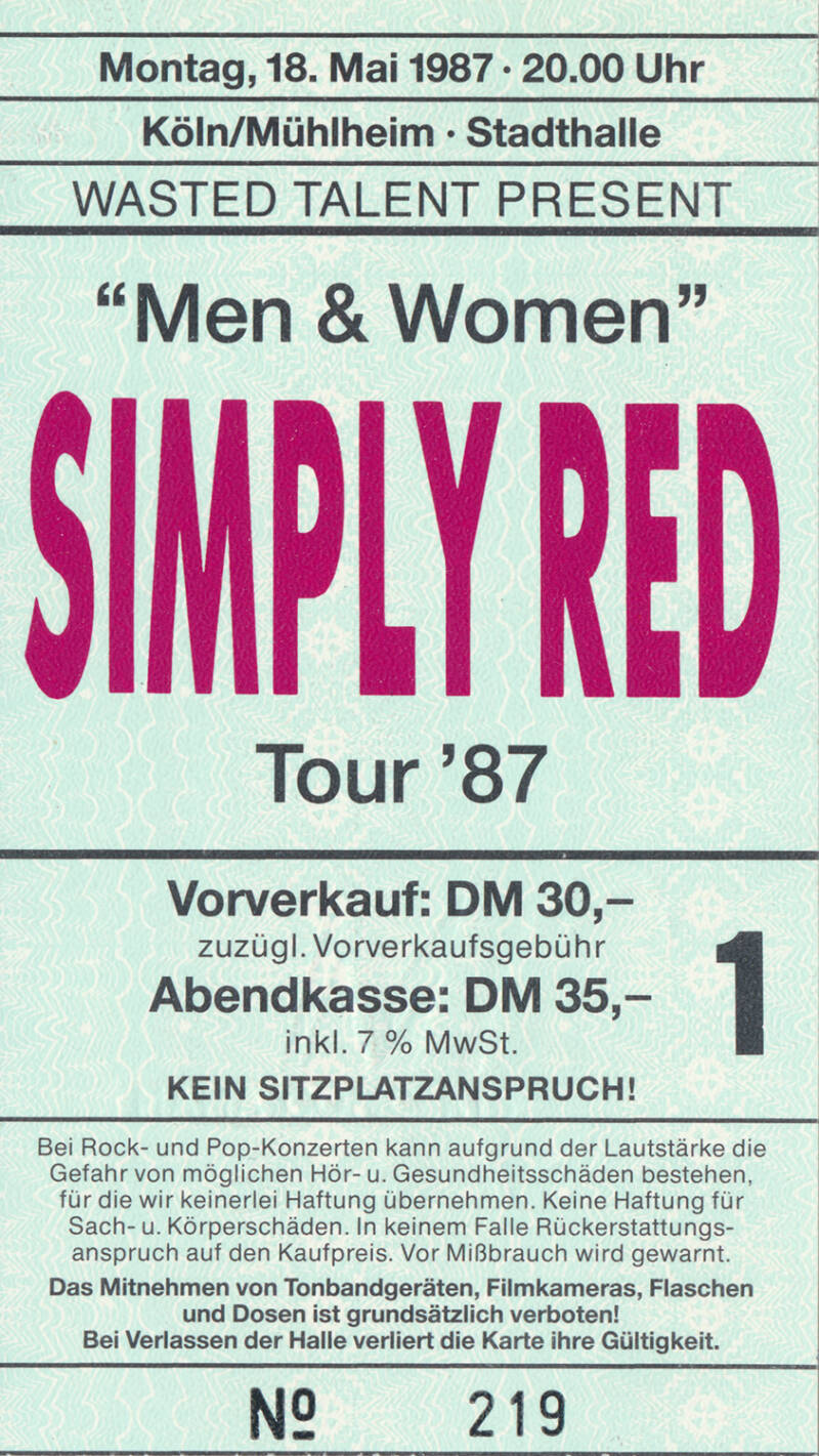 Simply Red - Stadthalle, Cologne/Mühlheim, May 18, 1987 [Germany] - Ticket Stub