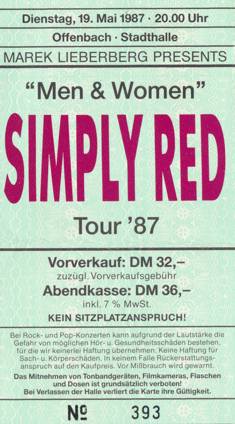 Simply Red - Stadthalle, Offenbach, May 19, 1987 [Germany] - Ticket Stub