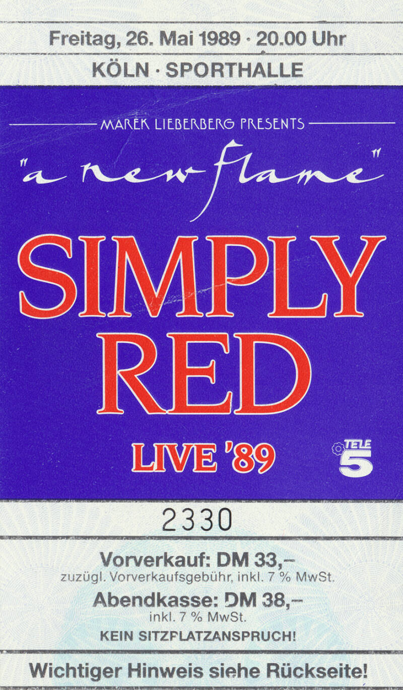 Simply Red - Sporthalle, Cologne, May 26, 1989 [Germany] - Ticket Stub