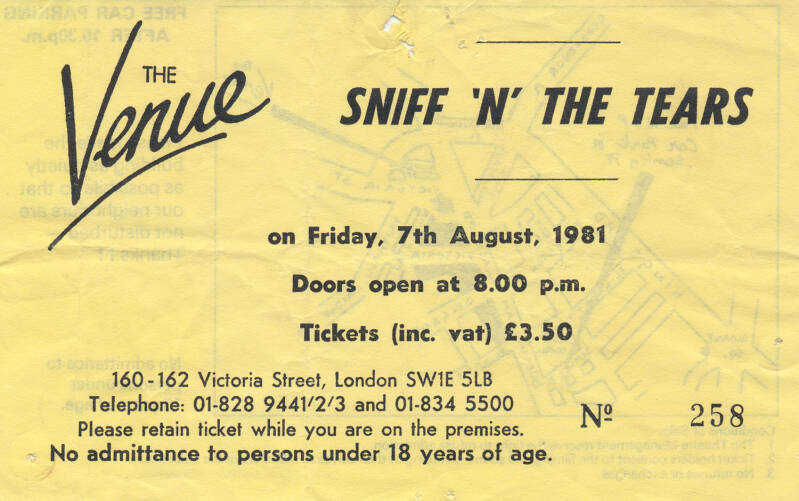 Sniff 'n' The Tears - The Venue, London, August 7, 1981 [Germany] - Ticket Stub