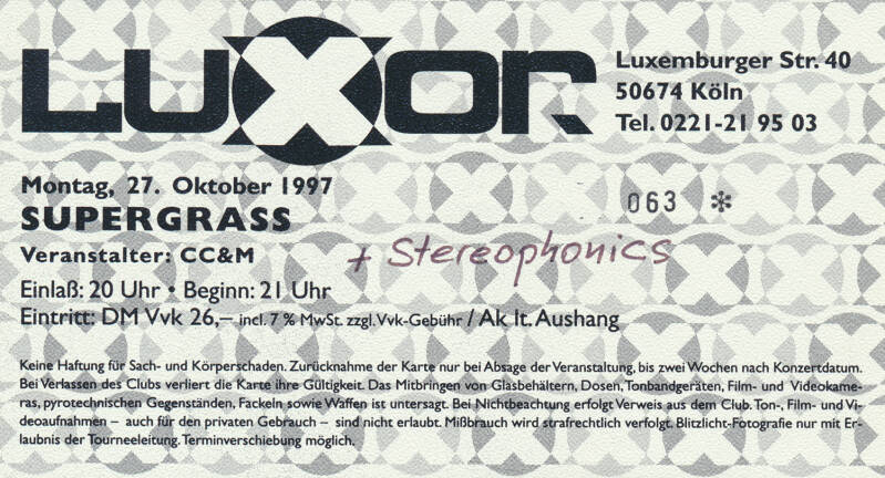 Supergrass - Stereophonics - Luxor, Cologne, October 27, 1997 [Germany] - Ticket Stub