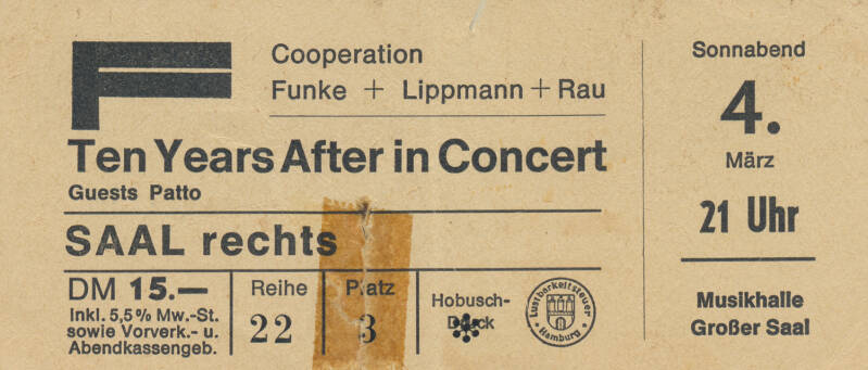 Ten Years After - Patto - Musikhalle, Hamburg, March 4, 1972 [Germany] - Ticket Stub
