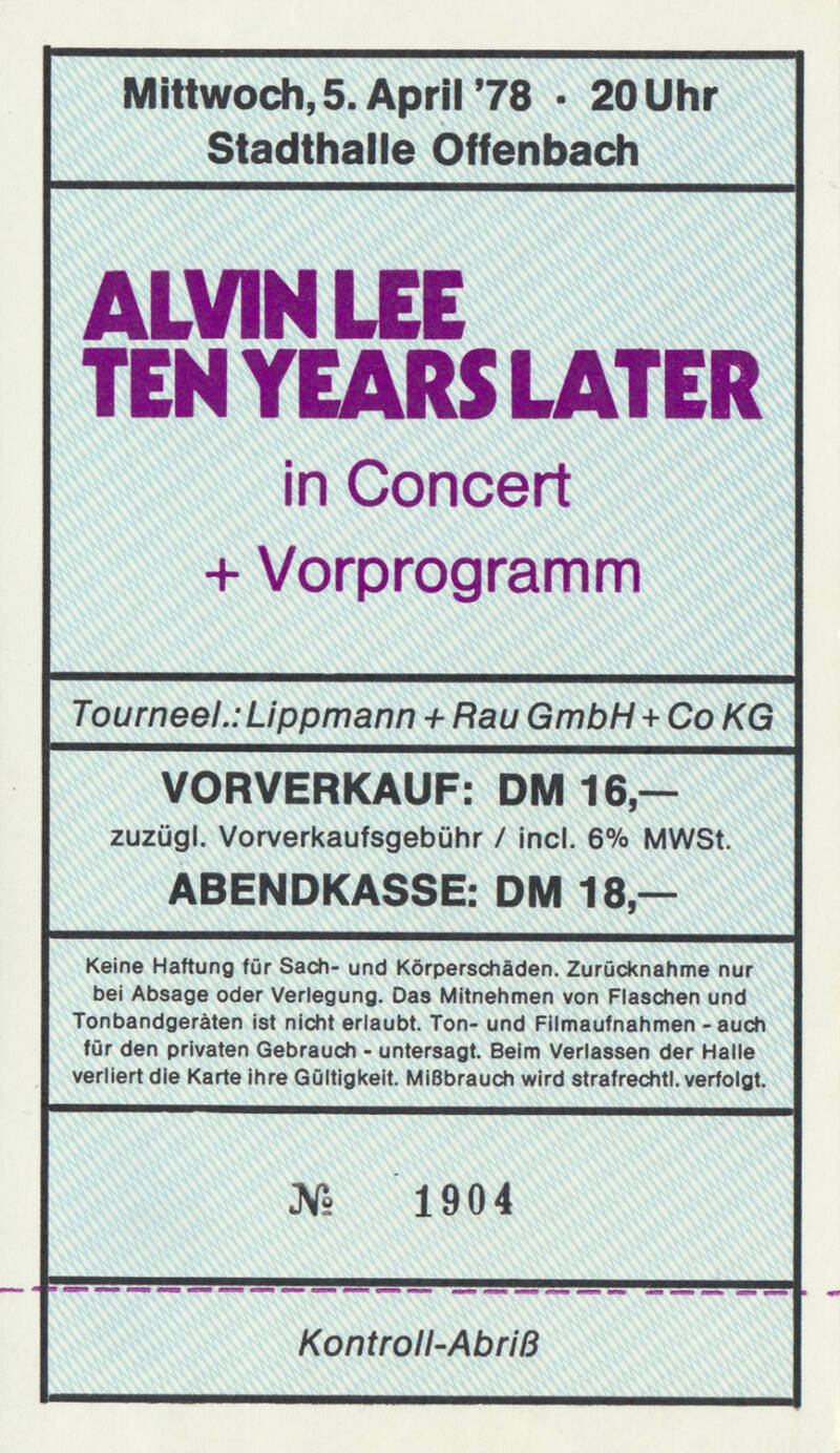 Ten Years After - Alvin Lee - Stadthalle, Offenbach, April 5, 1978 [Germany] - Ticket Stub