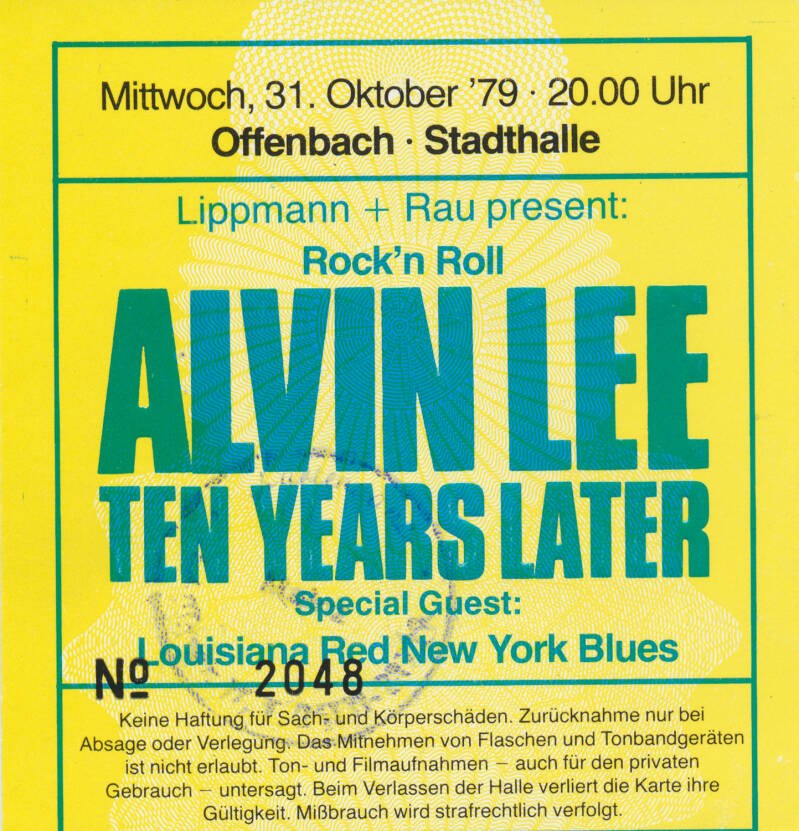 Ten Years After - Alvin Lee - Stadthalle, Offenbach, October 31, 1979 [Germany] - Ticket Stub