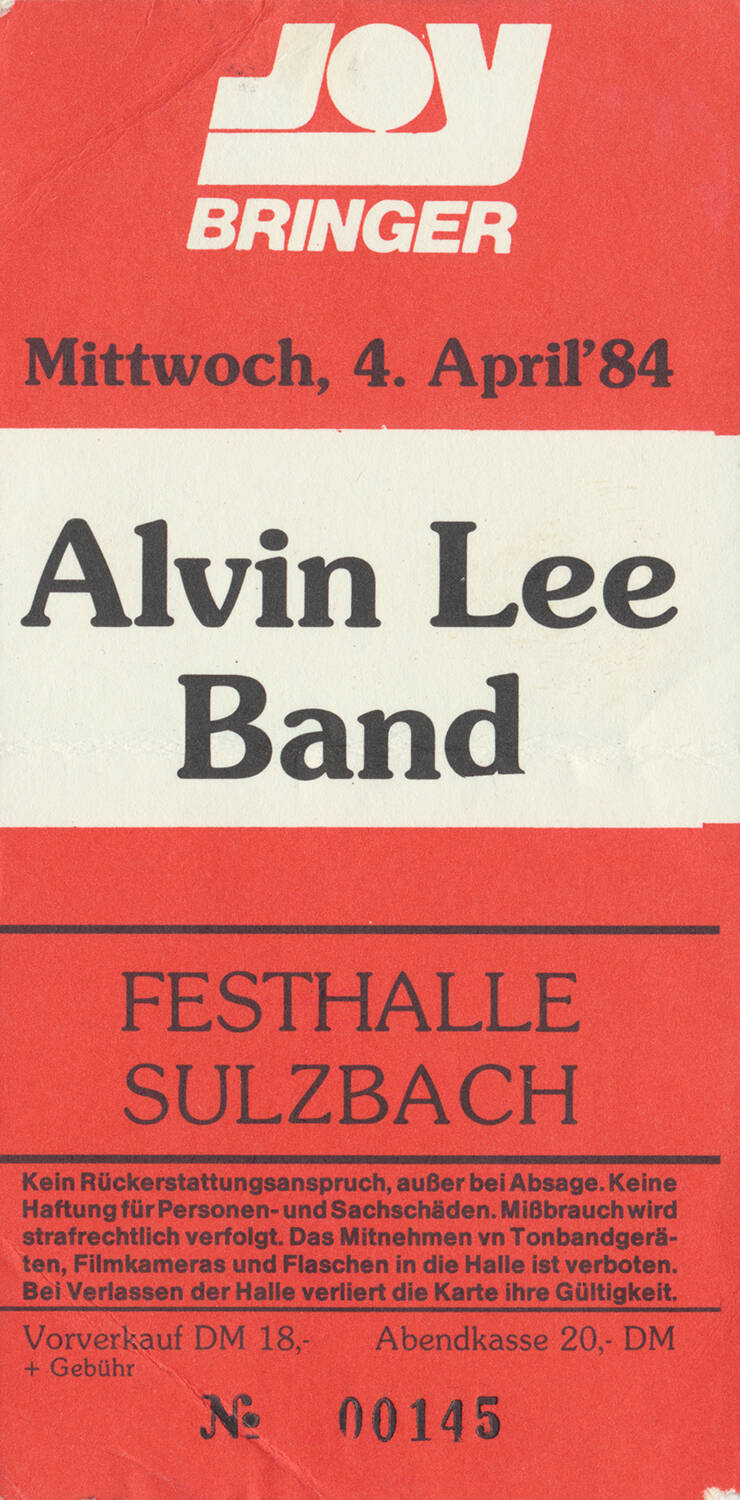 Ten Years After - Alvin Lee - Festhalle, Sulzbach, April 4, 1984 [Germany] - Ticket Stub