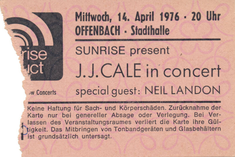 J.J. Cale - Stadthalle, Offenbach, April 14, 1976 [Germany] - Ticket Stub