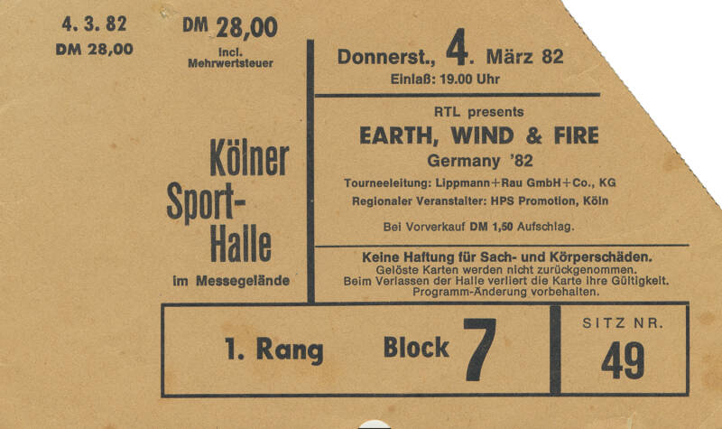 Earth, Wind & Fire - Sporthalle, Cologne, March 4, 1982 [Germany] - Ticket Stub