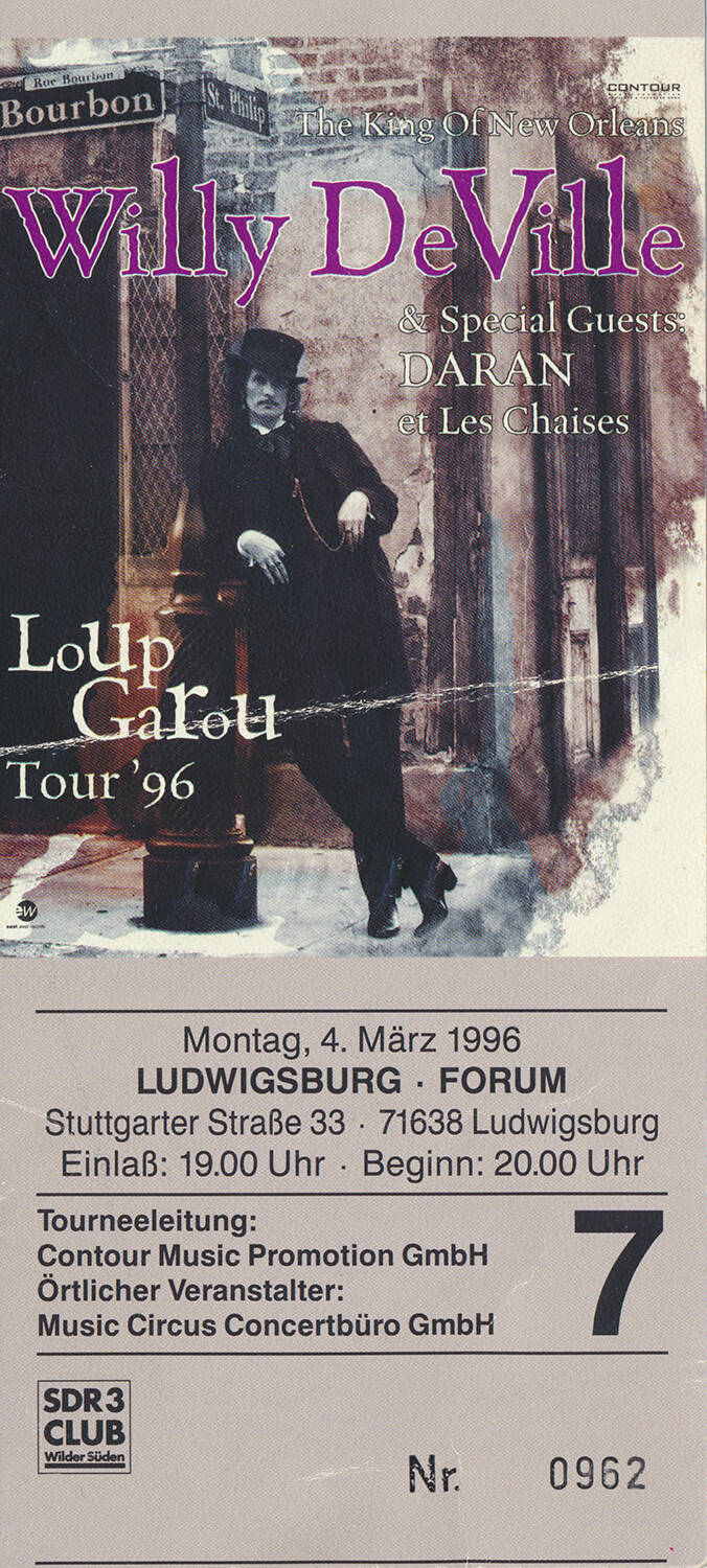 Willy DeVille - Forum, Ludwigsburg, March 4, 1996 [Germany] - Ticket Stub