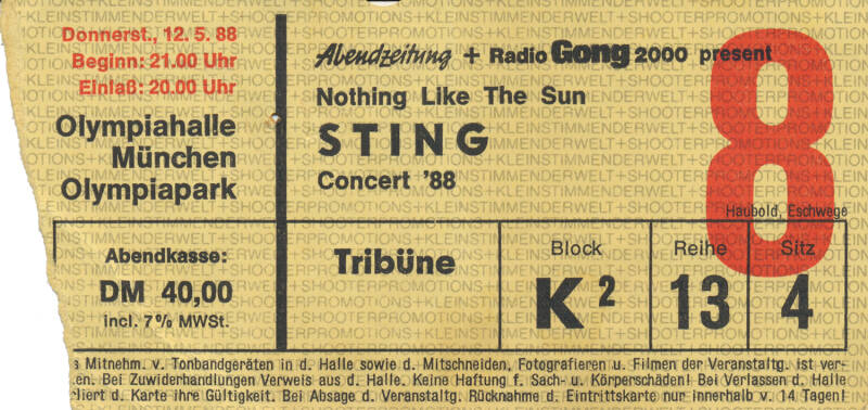 Sting - Olympiahalle, Munich, May 12, 1988 [Germany] - Ticket Stub