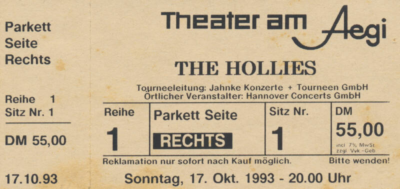 The Hollies - Theater am Aegi, Hannover, October 17, 1993 [Germany] - Ticket Stub