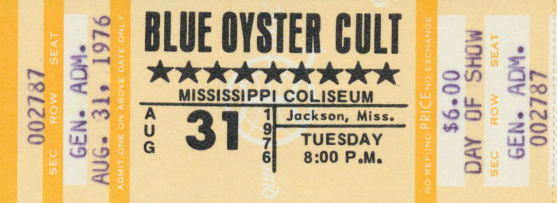 Blue Oyster Cult - Mississippi Coliseum, Jackson, August 31, 1976 [day of show] [USA] - Ticket Stub