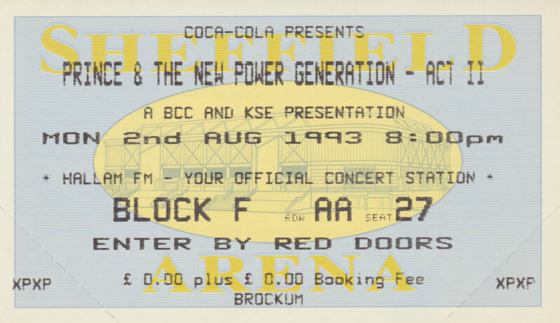 Prince & The New Power Generation - Arena, Sheffield, August 2, 1993 [UK] - Ticket Stub