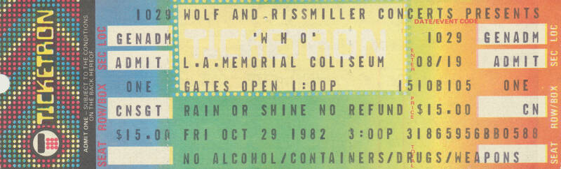 The Who - Memorial Coliseum, Los Angeles, October 29, 1982 [USA] - Ticket Stub
