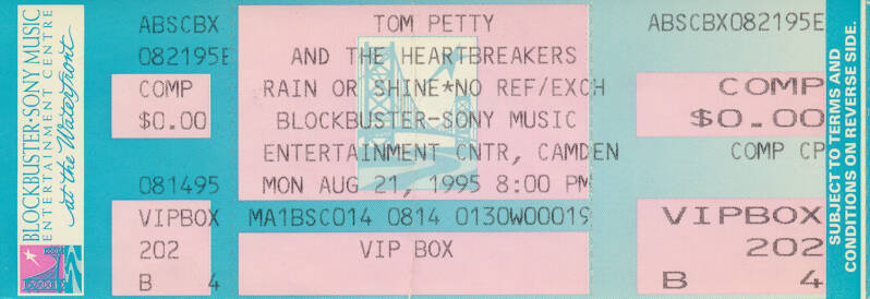 Tom Petty and The Heartbreakers - Blockbuster Sony Music Entertainment Center, Camden, August 21, 1995 [USA] - Ticket Stub