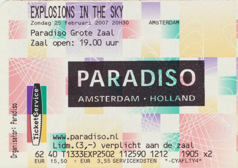 Explosions In The Sky - Paradiso, Amsterdam, February 25, 2007 [Holland] - Ticket Stub