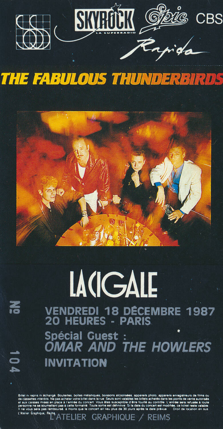The Fabulous Thunderbirds - Omar and the Howlers - La Cigale, Paris, December 18, 1987 [France] - Ticket Stub