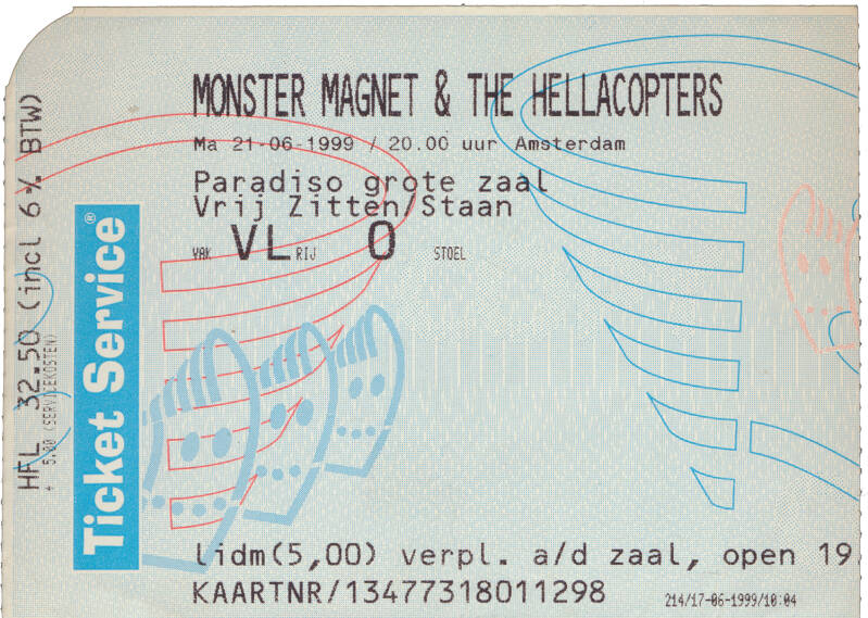 Monster Magnet - The Hellacopters - Paradiso, Amsterdam, June 21, 1999 [Holland] - Ticket Stub