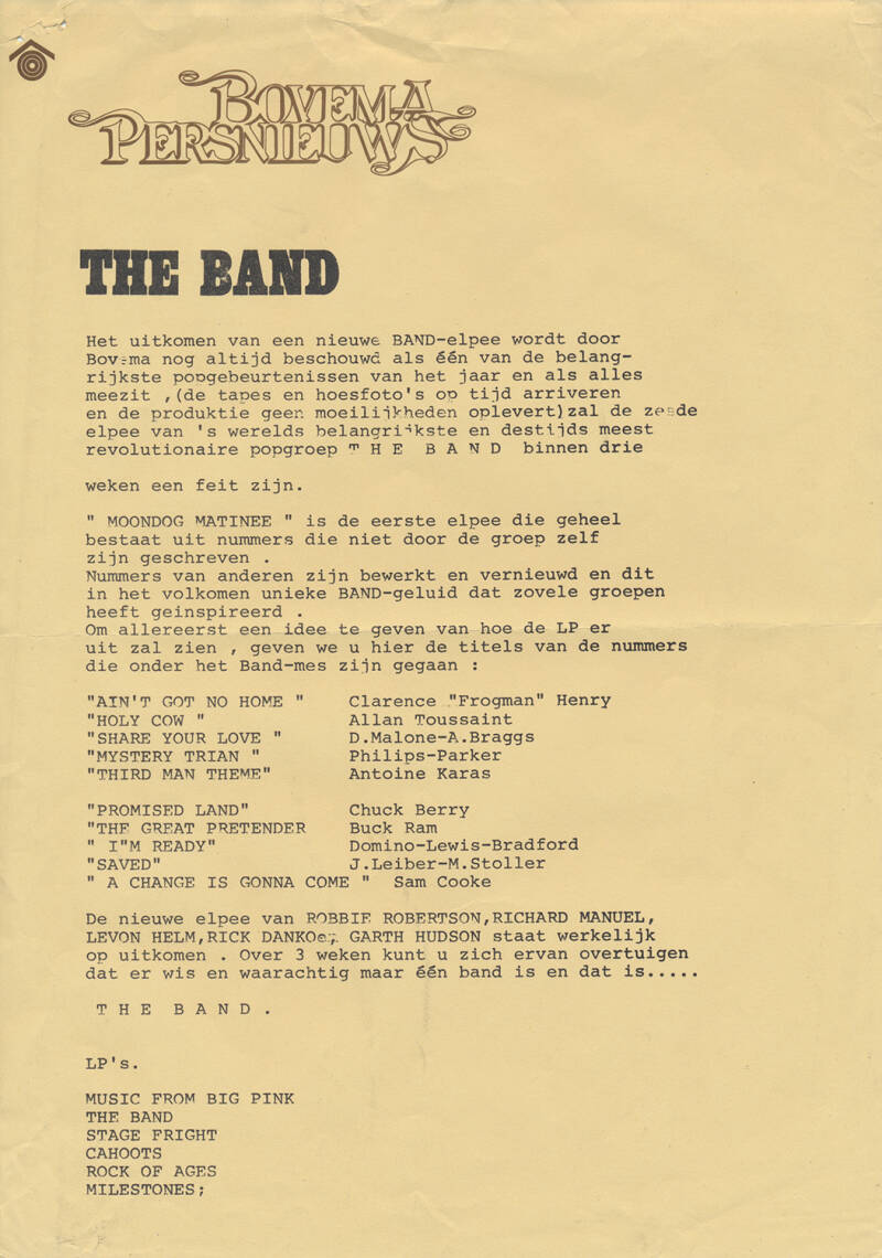 The Band - Bovema Persnieuws - 1973 [Holland] - Press Release