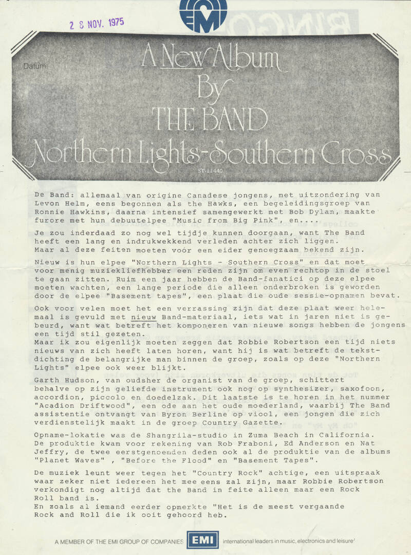 The Band - Ringo Starr (The Beatles) - Northern Lights Southern Cross / Blast From Your Past - November 28, 1975 [Holland] - Press Release