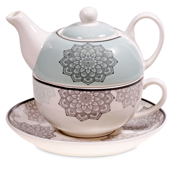 Tea for One Mandala grijs