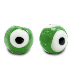 6 mm glaskraal Evil Eye Classic green