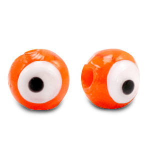 6 mm glaskraal Evil Eye Orange