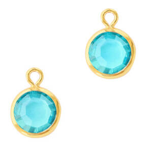 DQ Hangers van crystal glas rond 6mm Gold-Aquamarine blue