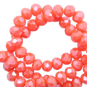 Facet 3x2 mm Tigerlily coral red-pearl shine coating (60 stuks) (60542)