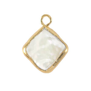 Zoetwaterparel bedel rhombus Gold-Natural white