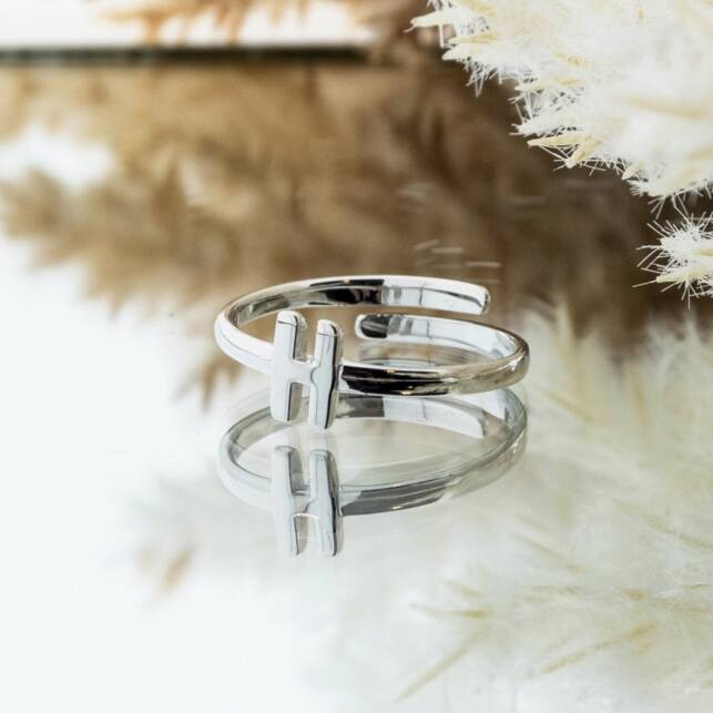 Imotionals One Size Letter Ring H Zilver