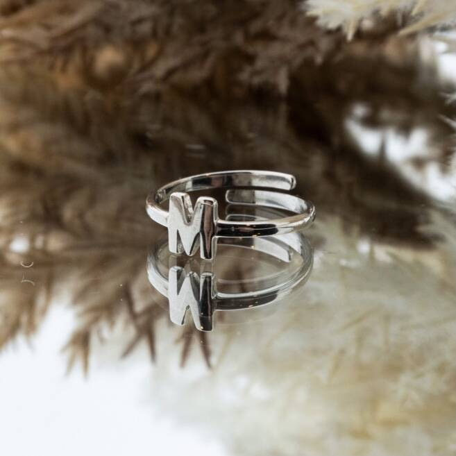 Imotionals One Size Letter Ring M Zilver